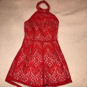 Lace Red & Beige Romper